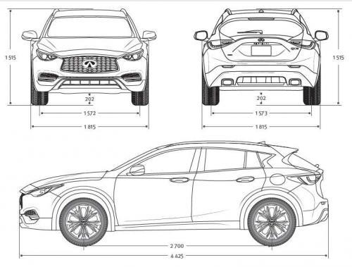 Szkic techniczny Infiniti QX30 Luxe Tech - Wypożyczalnia samochodów luksusowych Mestenza Trójmiasto Rafał Grzebin